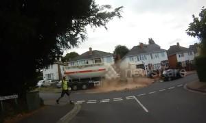 Crash bang wallop! Runaway lorry ploughs through street in Worcester