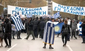 Greek students hurl rocks to protest deal with Macedonia