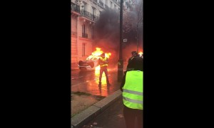 "Paris burns: chaos as ""yellow vests"" protesters set car on fire in central Paris"