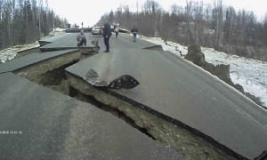 Alaskan Earthquake Creates Huge Cracks In Road