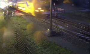 Cyclist misses oncoming train my mere inches
