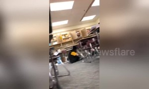 Footage shows the moment students duck under tables as 7.0-magnitude strikes Anchorage, Alaska