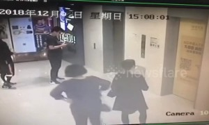 One injured after car rams into shopping mall lift lobby in southern Chinese city