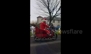 Santa rides into this Scottish town on a motorbike