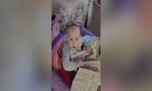 Adorable Baby Pretends to Read Newspaper