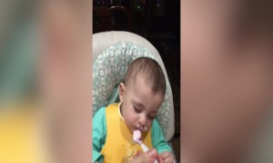 Cute Baby Falls Asleep during Dinner