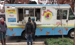 SubpoenaButter-the-Tax-Returns: Guilty Pleas-ures truck hands out free ice cream in DC