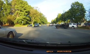 SUV Driver Blocks Jeep