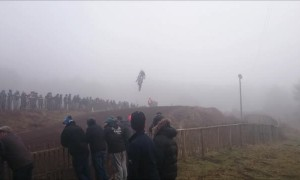 Dirt bike rider crashes into fence following huge jump