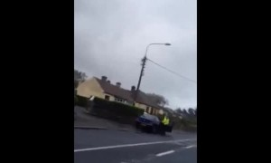 Gardai Irish Police Smash Man's Window