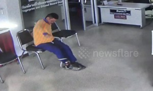 Snake slithers into police station and leaps up at man in waiting room
