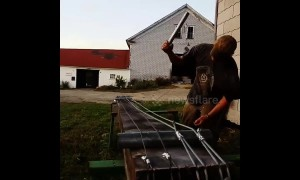 Maine farmer makes enormous bass out of wooden beam