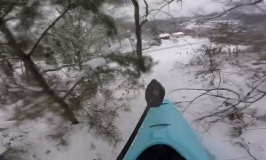 Kayak Sledding Down Huge Hill