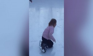 Cute Little Girl has Trouble Ice Skating