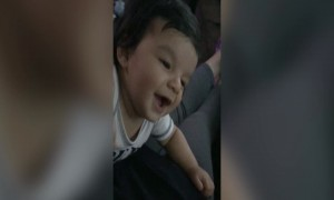 Baby Just wants to Make Friends with Dog