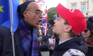 Pro and anti-Brexit protesters face off in heated exchanges in Westminster