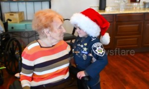Child 'police officer' spreads Christmas cheer at nursing homes with hugs and flowers