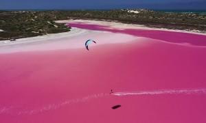 Kitesurfing Across Pink Lagoon