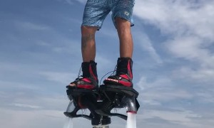 Smoking Hookah on a Flyboard