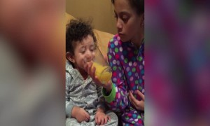 Toddler Loves to Laugh about Orange Juice