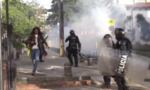 Clashes erupt between Bogota police and student protesters in final education protest of the year