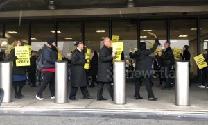 United Airlines flight attendants protest worldwide against staff and service cuts