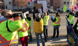 'Yellow vest' roadside protestors sing O Canada in Medicine Hat, Alberta