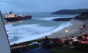 Russian cargo ship runs aground off Cornwall coast