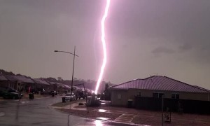 Lightning Bolt Strikes a Parked Car