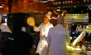 Opera singing chef cooks pizza in London