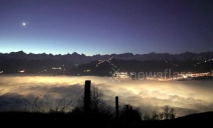 Stunning timelapse shows rolling fog at night and dawn in Swiss valley