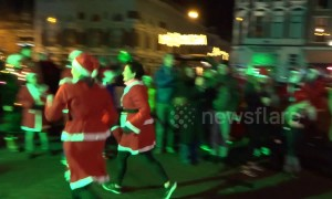 Santas run for charity in city in northern Netherlands