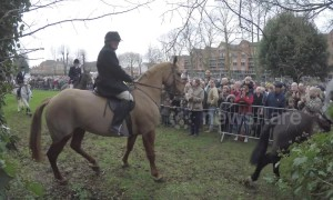 Protesters gather at Belvoir Hunt in Grantham, UK