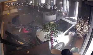 Two injured when unlicensed drunk driver ploughs car into busy restaurant
