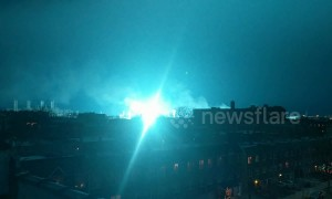 Alien invasion? Neon blue hue shrouds New York City sky after transformer blows up