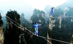 Chinese slackline walkers compete in terrifying contest