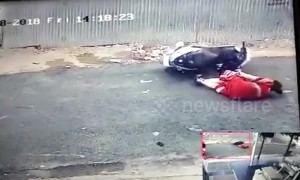Woman has nasty fall from scooter when thief snatches her necklace