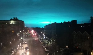 Crazy Blue Lights Surprise New Yorkers