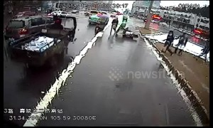 Billboard collapses, crushes motorcyclist beneath it in southwest China