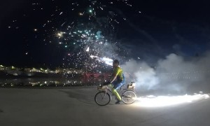 Bike Rigged with Fireworks to Celebrate New Year