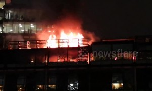 Fire blazes at The Ivy in Manchester