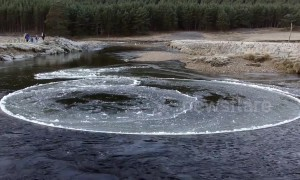 Mesmerising ice circle found spinning on Scottish river