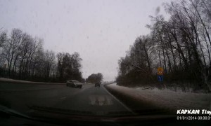 Out of Control Car Drifts Into Oncoming Traffic