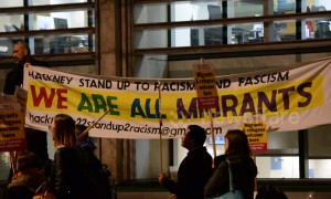 Protesters at Home Office welcome refugees and migrants