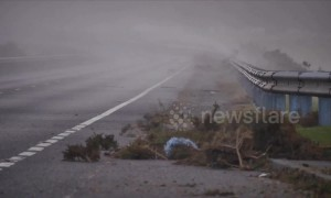 Northern Scotland lashed with 75mph winds and heavy rain