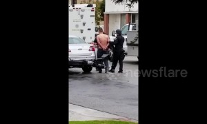 Man barricaded at Culver City motel taken away for questioning