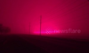 LED greenhouse lights in Canada bathe snow in weird pink light