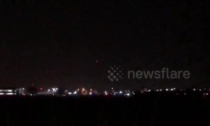 Light flashes over Heathrow Airport as drone sighting stops departures
