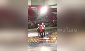 Kind gesture by US high school wrestler brings joy to student with disability