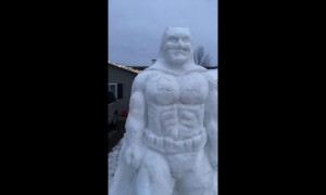 US dad builds immense statue of Batman out of snow for his kids
